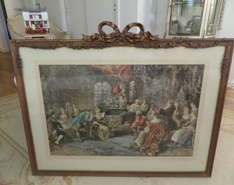 Huge Antique French Framed Print Gesso Bow Roses Swags Barbola Paris Carvings Shabby Chic