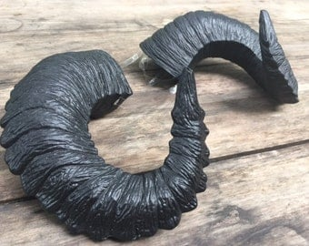 "Sale! Ram Horns, ""Poe"" Goth Pitch Black Horns - Gothic Satyr Horns - rugged, wearable cosplay horns - Krampus"