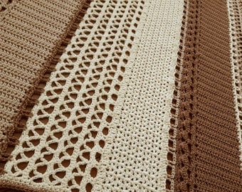 Crochet blanket brown and cream