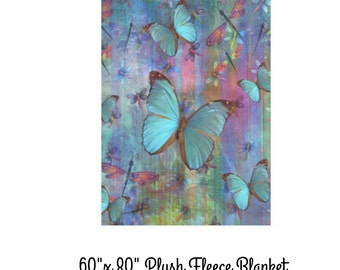 "Plush Fleece Blanket- Dragonfly and Butterflies- 60"" x 80"" Soft  Bedding -Throw Blanket- Boho Design"