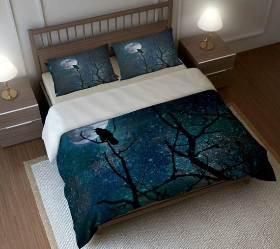 Gothic Bedding Duvet Comforter Cover Set Raven By Folkandfunky