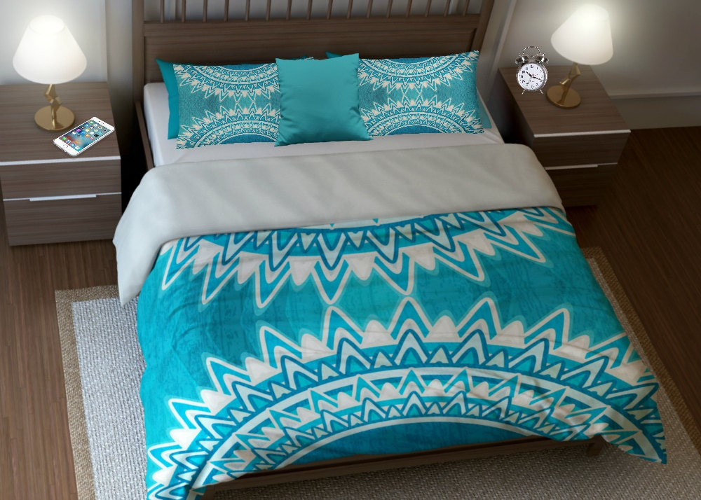 boho chic bedding duvet cover set twin queen king turquoise. Black Bedroom Furniture Sets. Home Design Ideas