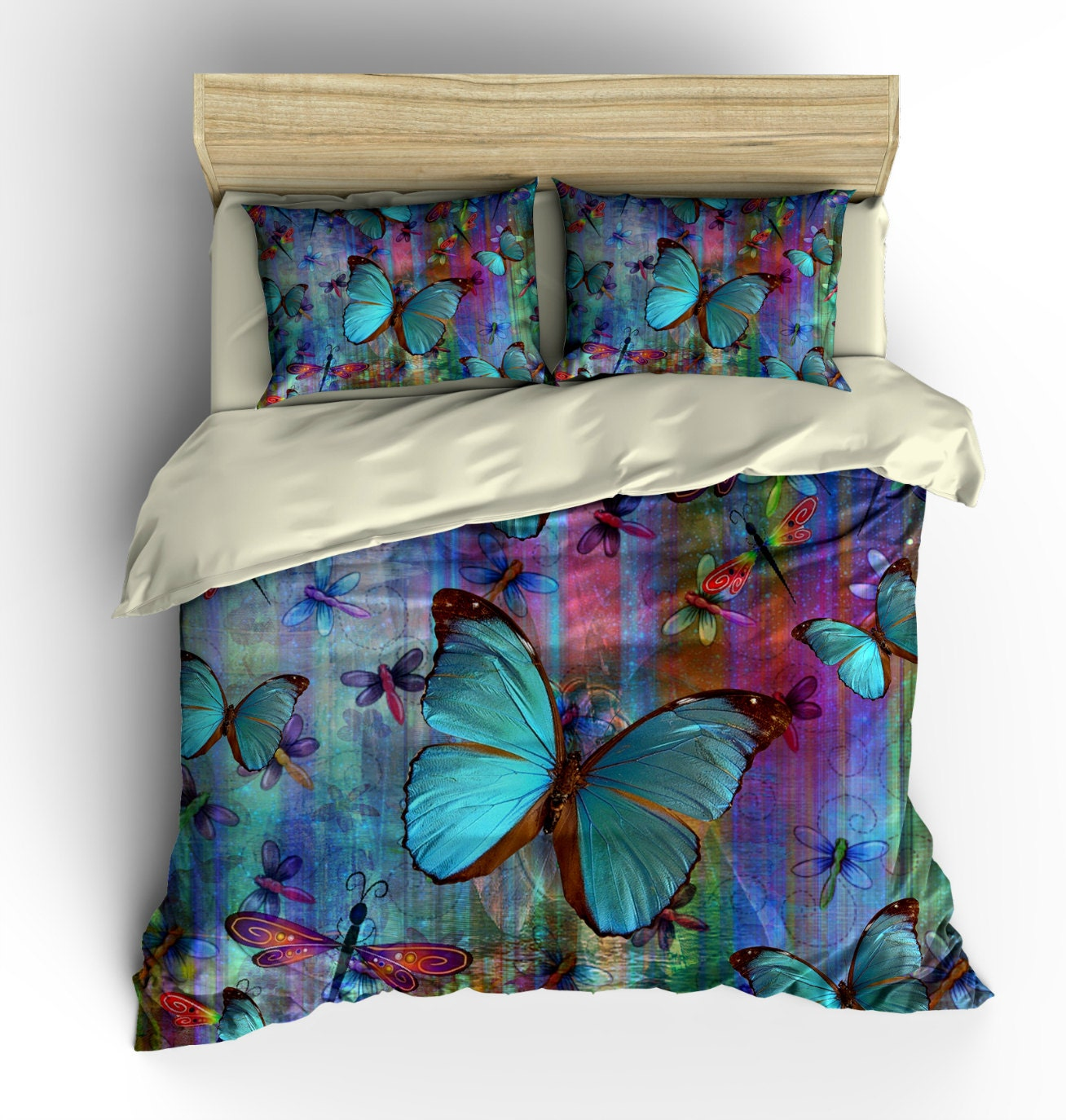Boho Chic Dragonfly Butterfly Bedding Duvet Cover Set Pillow