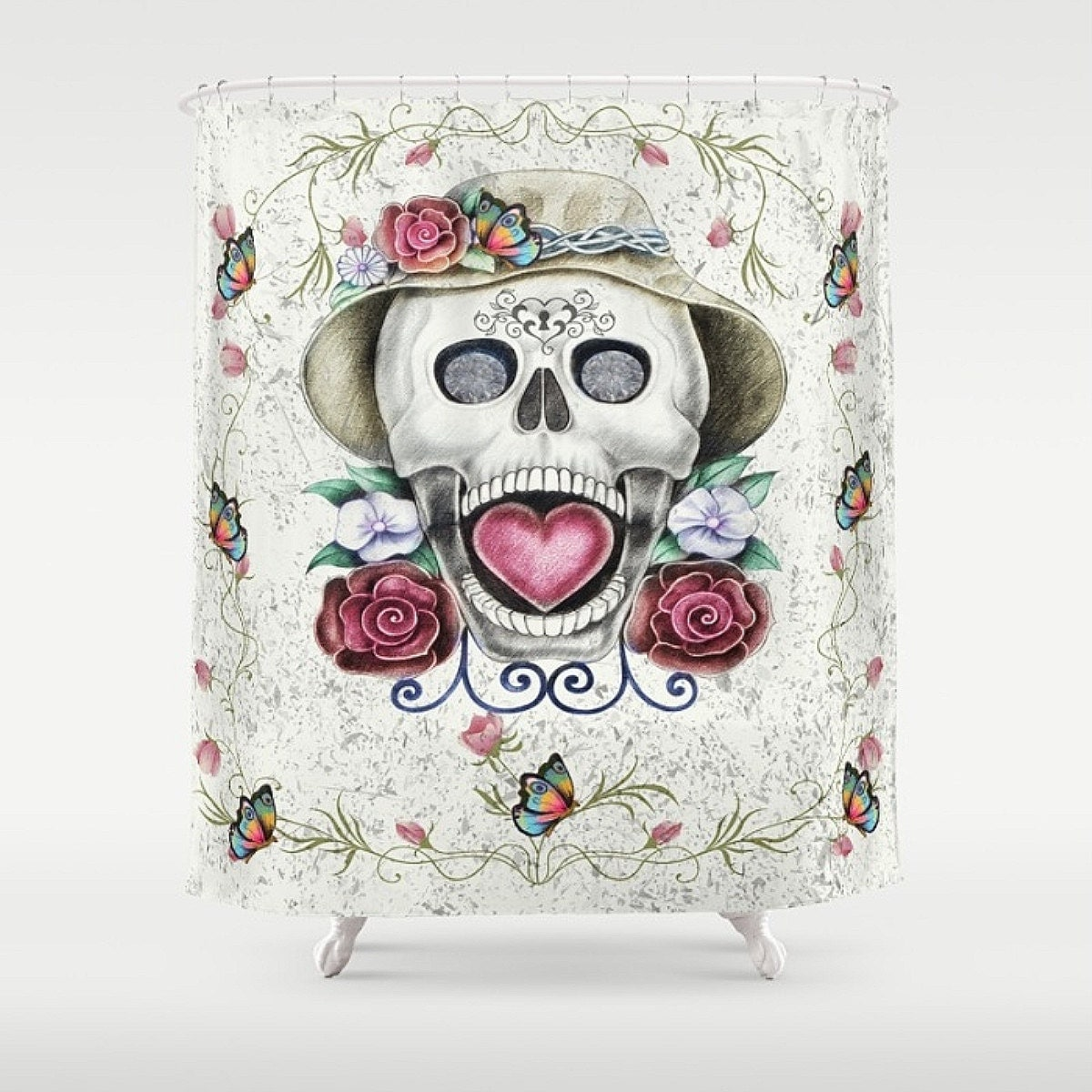sugar skull shower curtain summer love by folkandfunky on etsy. Black Bedroom Furniture Sets. Home Design Ideas