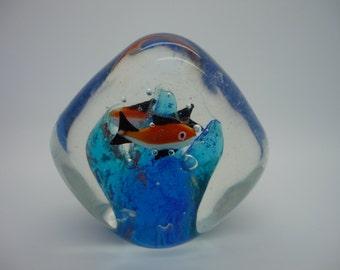 Vintage Murano Glass Fish Aquarium Paperweight