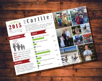 Personalized Christmas Card Infographic Digital File Red and Green  5x7//Christmas Postcard// Digital File