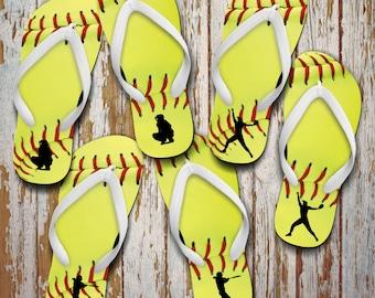 Softball Flip Flops/Custom Softball Gift/Softball Pitcher, Softball Catcher/Softball Batter Flip Flops