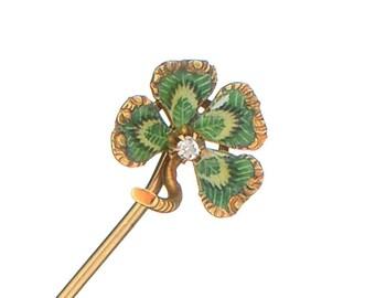 Enameled 4 leaf clover diamond stick pin antique
