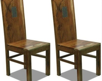 Bonsoni Slated Dining Chair Hand Made From Solid Blond Acacia Hardwood