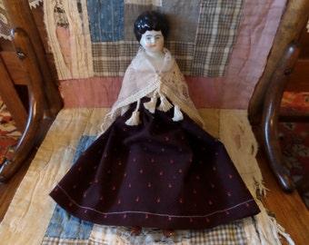 "Antique China Head Doll 12"""