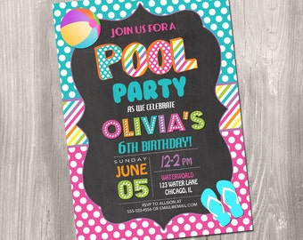 Pool party Invitation, pool party birthday Invitation, swimming party invite, swim party invitation, summer party, digital, Printable
