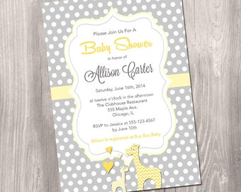 Baby Shower Giraffe Invitation - Baby Giraffe Invitation - Yellow and Grey Polka Dots - Gender Neutral Baby Shower Printable Invitation