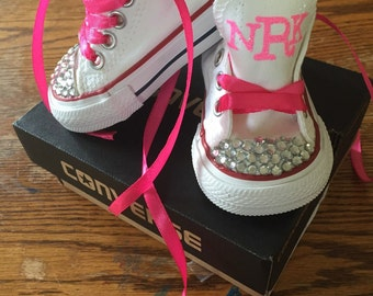 Custom Monogram Bling Infant Toddler Low Top Converse Chuck Taylor All Star