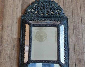 Antique 19t century parclosed mirror/ French vintage mirror/ Napoleon III a pareclose mirror