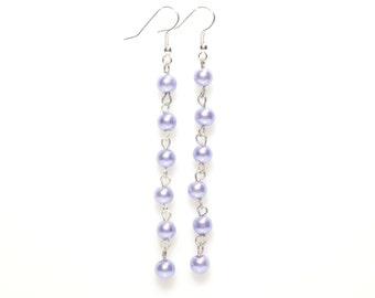 Beaded earrings,  purple beaded earrings, beaded chain earrings, purple earrings,  purple pearl earrings,  pearl chain earrings,  earrings