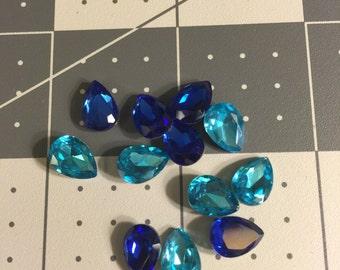 1cm by 0.6cm Blue Teardrop  Rhinestone
