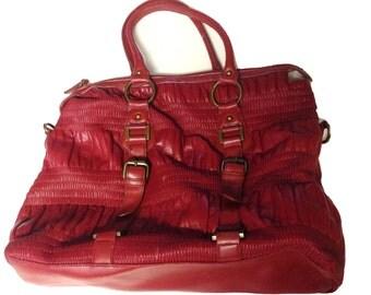 Red Leather Gathered Shoulder Bag / Purse