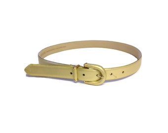 Jones New York Muted Gold Genuine Leather Belt - Size Medium