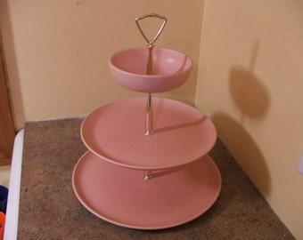 1950s Laurel of California Cerama-stone Pink Speckled Dinnerware Three-Tier Server