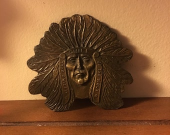 Chief sitting bull of the sioux nation brass belt buckle native american