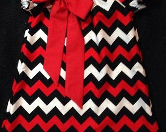 Mandy's Closet Boutique Red Black Chevron Girls Peasant Dress Size 2-4