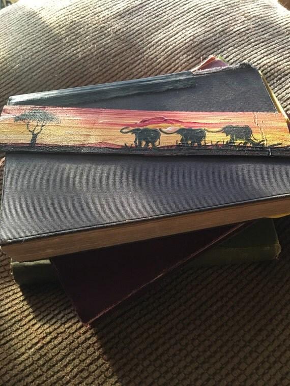 Leather bookmark three elephants - BKMK54