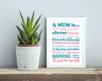 Framed MUM Quote Mum Gift Mum Picture Print MUM Present Typography Print Mum quote poster