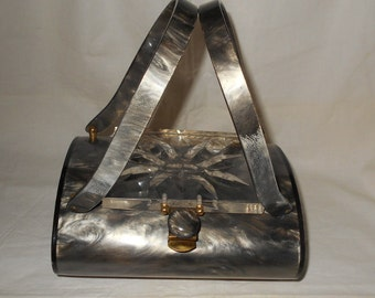 Vintage Rialto Grey Pearlized Lucite Purse/Bag