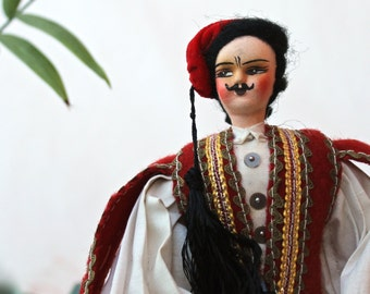 Greek Costume Doll Collectible Souvenir Greek Guard Evzones Greece Cloth Ethnic Hand Painted Face Vintage Gift Idea red white black yellow
