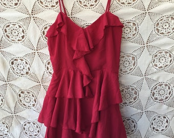 LUC Sassy RED Ruffle MINI Dress by Lucy size S