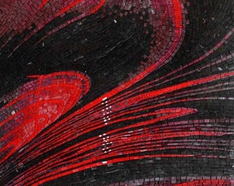 Red Abstract Mosaic Handmade Artwork Mural