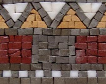Mosaic Stone Border Prehistoric Design Art Handmade Decorative Tiles Mural for Home Wall, Floor, Ceiling, etc ... Decoration - MB119