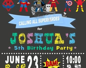 Superhero Superboys Personalised Invitation Batman Ironman Superman Spiderman Captain America Flash Printable