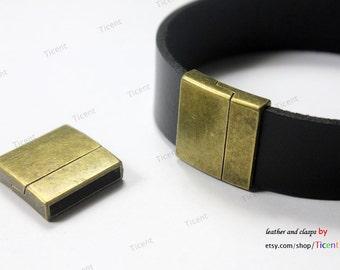 3 sets 20mmx3mm Inner Hole Antique Bronze Magnetic Closure,Bracelet Ends, MT660