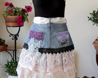 Lovely skirt/denim recycled skirt/half apron/ooak/unique apron/altered couture/steampunk skirt