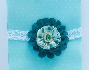 Flower headband - newborn headband - baby girl bow - newborn gift - rhinestone headband - newborn photography prop - lace headband - green