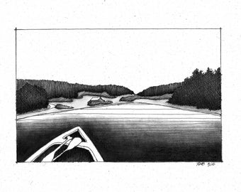 Canoe on Buck Bay (b/w print)