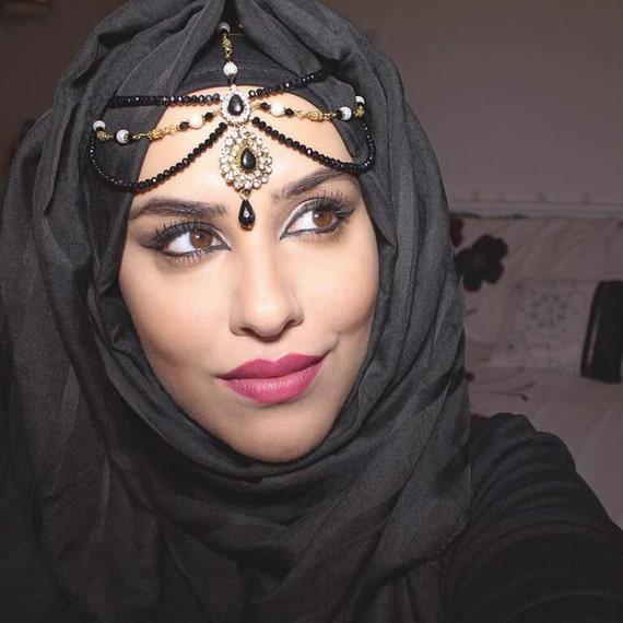 Indian Wedding Headdress: Black Headwear Bridal Headpiece Kundan Hair By MadZFashionZ