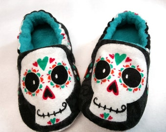 Sugar Skulls Baby Shoes,Black baby Slippers,Day of The Dead,Dia de Los Muertos,Soft Sole shoe,Toddler Slippers