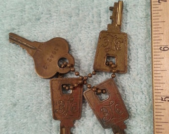 Vintage Keys Four(4) Best Lock Company Old Keys Steampunk Mid Century Retro