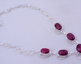 free shipping F-288 Stunning Ruby .925 Silver Handmade Jewelry Necklace 32 Gr.