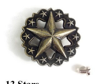 13 of star Decoration coin button cap