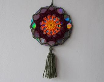 15% OFF - Crochet Autumn Mandala Suncatcher - Double Sided Sun Catcher Mobile - Upcycled CD - Window Decor - Crocheted Doily Ornament