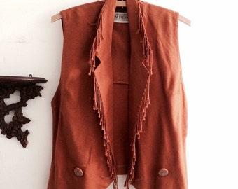 1990s rust western vest
