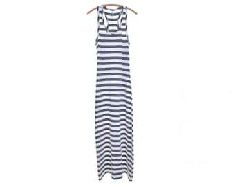 striped dress racerback dress grey white maxi dress beach dress