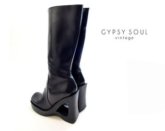 STEVE MADDEN cutout heel boots, vintage 90s boots, platform boots, black leather boots, knee high,high heel, avant garde boots, goth boots 8