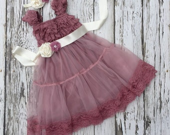 Flower girl dress. Dusty rose girls lace dress.  Dusty pink girls dress. Chiffon dress. Toddler wedding dress.