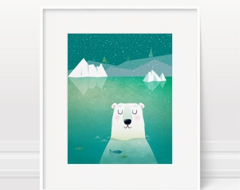Nursery art, Polar bear, illustration, underwater, ocean nursery, kids illustration, kids room decor, children's art, boys room, wall art