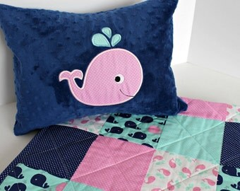 Pink Whale Pillow~Homemade Baby Whale Pillow Cover~Nautical Nursery Pillow~Nautical Baby Pillow~Throw Pillow Covers~ Personalized Pillow