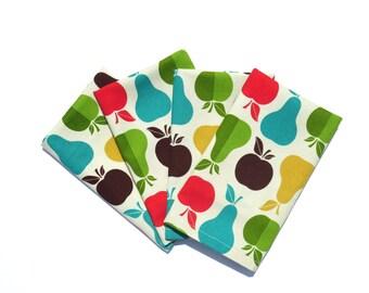 Childrens Apples Napkins, Set of 4, Small Size Pear Napkins, Kids Cotton Napkins, Kids Fruit Cloth Napkins, Kids Apple Lunchbox Napkins with